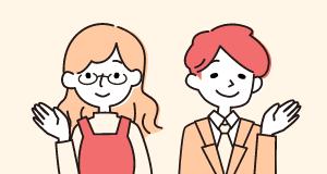 イラスト:笑顔で相談を受け付けている福祉人材センターの女性職員と男性職員