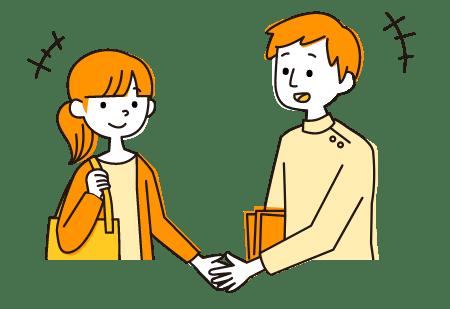イラスト:福祉事業所の男性職員と求職者の女性が握手をしている様子