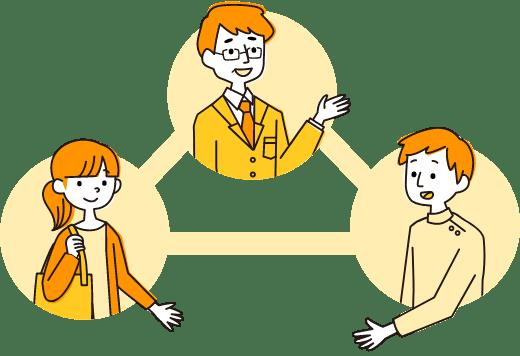 イラスト:職員が求職者に仕事を、事業所の方に人材を紹介している様子