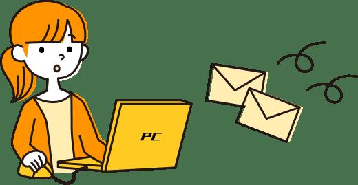 イラスト:求職登録をした人が、メールで届いた求人情報を確認している様子