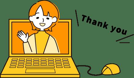 イラスト:パソコンの中で、手を振りながら「Thank you!」と言っている女性